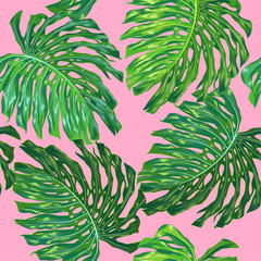 Floral Tropical Seamless Pattern. Palm Leaves Monstera Watercolor Background for Wallpaper, Fabric, Textile, Wrapping Paper. Tropic Botanical Design. Vector illustration