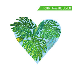 Love Romantic Floral Heart Spring Summer Design with Monstera Palm Leaves for Prints, Fabric, T-shirt, Posters. Tropical Botanical Background for Valentines Day. Vector illustration
