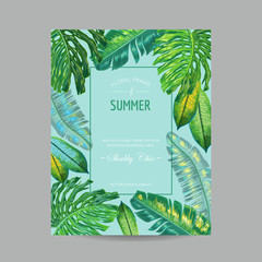 Wedding Invitation Template with Palm Leaves. Tropical Save the Date Card. Summer Botanical Design for Poster, Greeting Card. Vector illustration