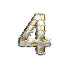 Alphabet number 4. Soccer font made of silver and gold football texture. 3D render isolated on white background.