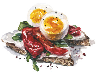 Watercolor food and vegetables illustration with egg and sweet red pepper on toasts and salad herbs
