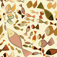 Seamless hand drawn fish illustrations background, good for graphic design, wallpapers or booklets. Color, water, line & pattern.