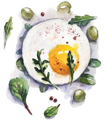Watercolor food and vegetables illustration with fried egg, olives and salad herbs