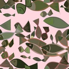 Seamless illustrations of fish. Nature, art, backdrop & line.