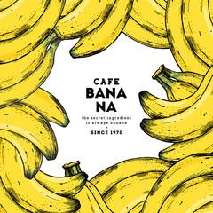 Tropical banana frame design template. Banana botanical illustration. Vector illustration