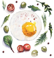 Watercolor food and vegetables illustration with fried egg, tomatoes and salad herbs