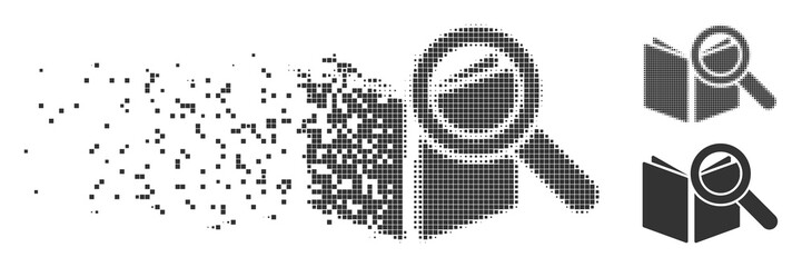 Grey vector search book icon in fractured, pixelated halftone and undamaged whole variants. Rectangular particles are used for disintegration effect.