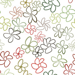 Seamless abstract flower illustrations background. Set, green, style & surface.