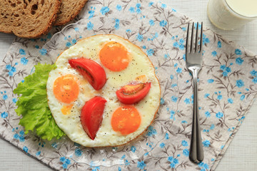 Scrambled eggs with tomatoes top view