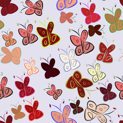 Seamless hand drawn butterfly illustrations background, good for graphic design, wallpapers or booklets.