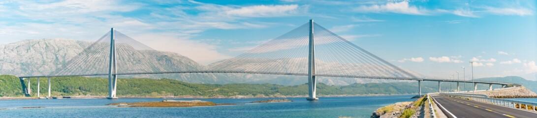 Panorama of auto bridge in Norway, Europe