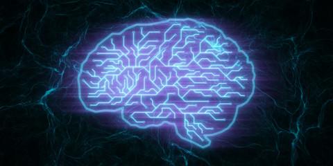 Blue circuit brain wallpaper