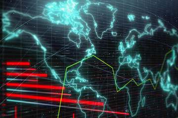 Bright forex chart backdrop with map