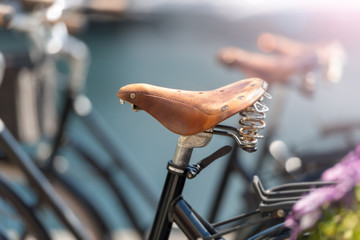 Bicycle saddle close up in street of Alesund