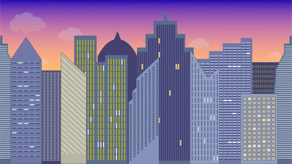 Horizontally seamless vector illustration of cityscape. Night. Colorful. Panoramic view.