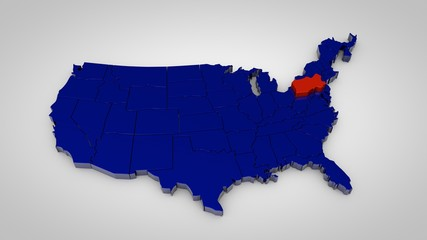 usa map with pennsylvania map highlited 3d render