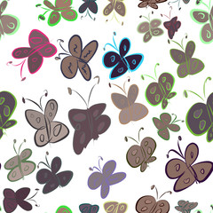 Seamless abstract butterfly illustrations background. Creative, underwater, shape & style.