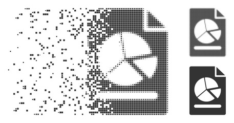 Dispersed pie chart report page pixel icon with disintegration effect. Halftone pixelated and intact solid gray versions. Dots have rectangular shape.