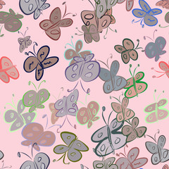 Seamless decorative hand drawn butterfly art illustrations. Details, underwater, backdrop & wild.