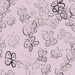 Seamless butterfly illustrations background abstract, hand drawn. Concept, underwater, vector & sketch.