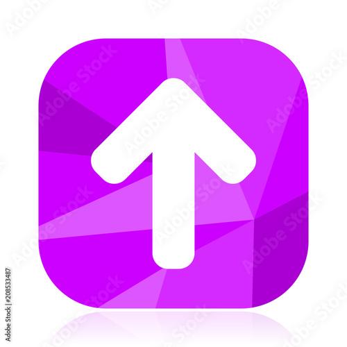 Up Arrow Flat Vector Icon Top Violet Web Button Navigation
