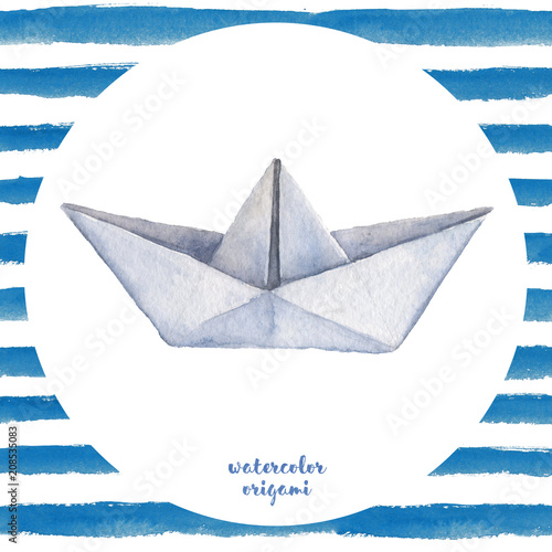 Watercolor hand painted seamless origami illustration with