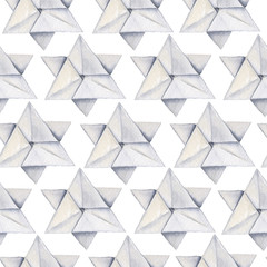Watercolor hand drawn origami seamless pattern with white stars on transparent background