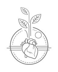 Human heart and plants vector illustration