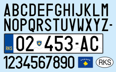 kosovo car plate, letters, numbers and symbols