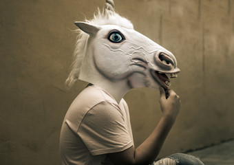 Unicorn funny plastic mask photograph