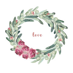 Watercolor floral illustration wreath with olives and flowers