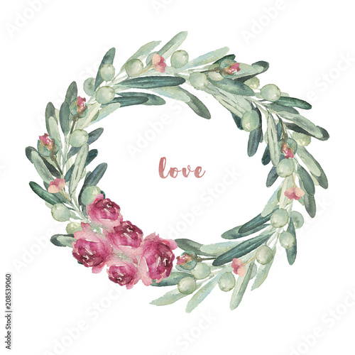 5e0e053b3230 Watercolor floral illustration wreath with olives and flowers ...