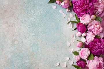 Background with pink peonies and roses for text congratulations, invitations
