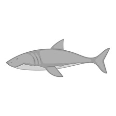Shark icon in monochrome style isolated on white background vector illustration