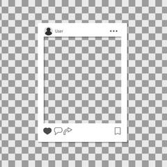 Photo frame isolated on transparent background. Social media post template framework. Social network share user interface. Mobile application concept. Vector illustration.