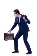 Businessman with gun isolated on white background