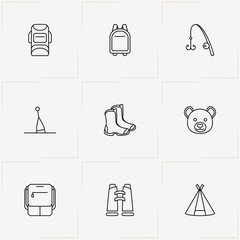 Hunting And Fishing line icon set with buoy, fishing rod and tent