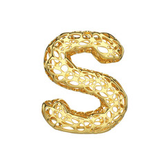 Alphabet letter S uppercase. Gold font made of yellow cellular framework. 3D render isolated on white background.