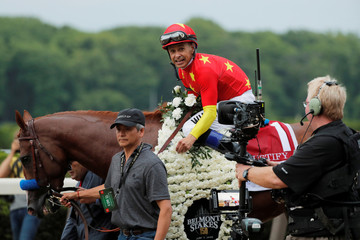 Jockey Mike Smith celebrates aboard Justify after winning the 150th running of the Belmont Stakes, the third leg of the Triple Crown of Thoroughbred Racing at Belmont Park in Elmont, New York