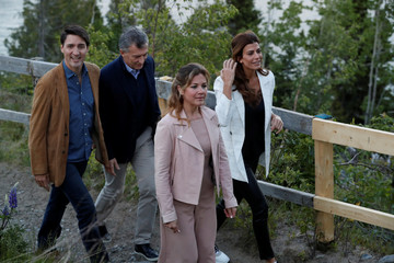Argentina's President Mauricio Macri meets with Canada's Prime Minister Justin Trudeau during a G7 Summit in the Charlevoix town of La Malbaie