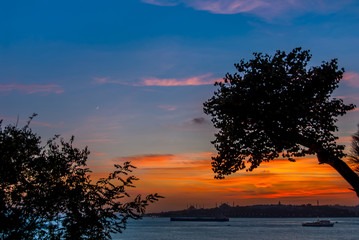 Istanbul, Turkey, 22 October 2017: Sunset of Bosphorus Blue and Orange Evening and Sarayburnu, Fatih district of Istanbul