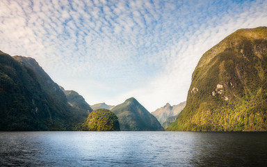 Interesting Mountain Range at Doubtful Sound that looks like a fantasy land. Numerous locations in Fiordland National Park were used for locations of the 'Middle Earth' in 'Lord of the rings' movie. -