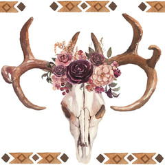 Watercolor hand-painted boho illustration with bull skull, antlers and flowers for wedding, anniversary, birthday, greetings, invitations, cards, pictures, textile, fashion, party