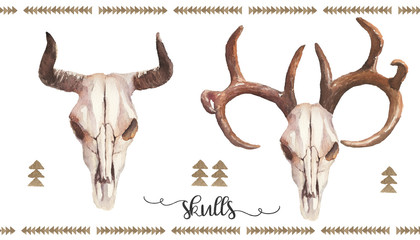 Watercolor boho illustration set - bull - cow / deer skulls with antlers & horns, arrangement for wedding, anniversary, birthday, invitations, tribal native american symbol, bohemian DIY indian