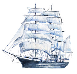 Watercolor hand drawn nautical / marine illustration with sailing ship
