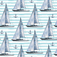 Seamless watercolor nautical pattern with various boats and anchors on blue background, perfect for wrappers, wallpapers, postcards, greetings, wedding invitations, romantic events.