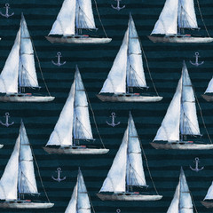 Seamless watercolor nautical pattern with various boats and anchors on black background, perfect for wrappers, wallpapers, postcards, greetings, wedding invitations, romantic events.