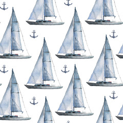 Seamless watercolor nautical pattern with various boats and anchors on white background, perfect for wrappers, wallpapers, postcards, greetings, wedding invitations, romantic events.