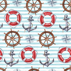 Seamless watercolor nautical pattern with anchor, steering wheel, compass, life buoy on blue background, perfect for wrappers, wallpapers, postcards, greetings, wedding invitations, romantic events.