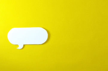 rounded text bubble on yellow background